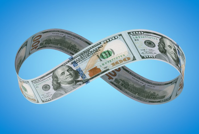One hundred dollar bills forming an infinity symbol.