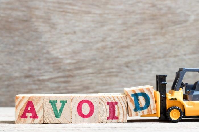 """Letter blocks spelling """"avoid."""""""