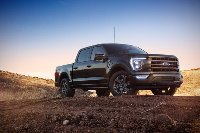 A 2021 Ford F-150 on a a dirt road.