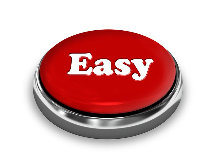 A red button, with the word easy printed on top.