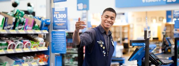Smiling Walmart employee
