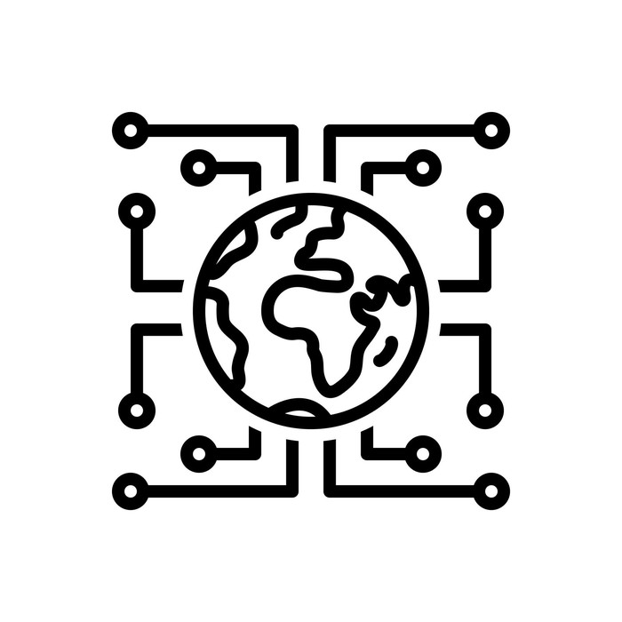 An illustration of the earth  surrounded by circuit lines: digital transformation concept.