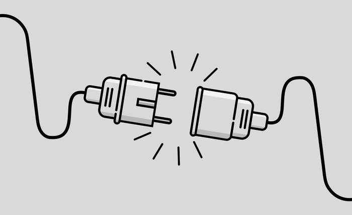 Black and white drawing of an electric plug and a connector