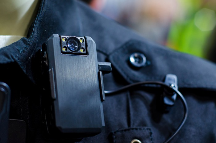 Closeup of police body camera