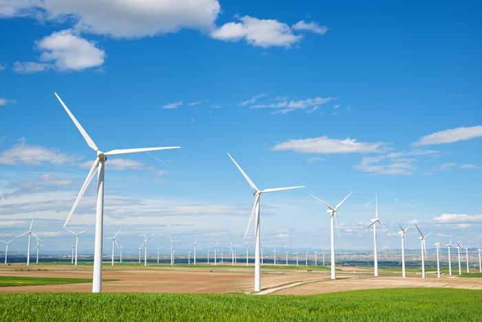 Onshore wind turbines.