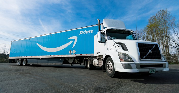 Semitrailer truck with Amazon Prime logo on the side of it