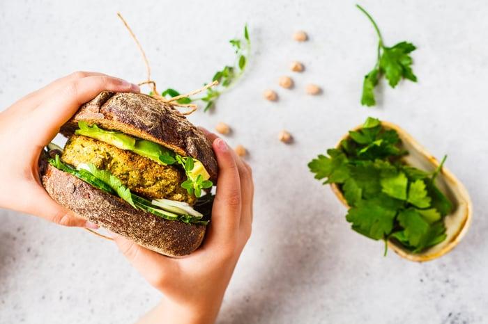 A vegan patty sandwich.