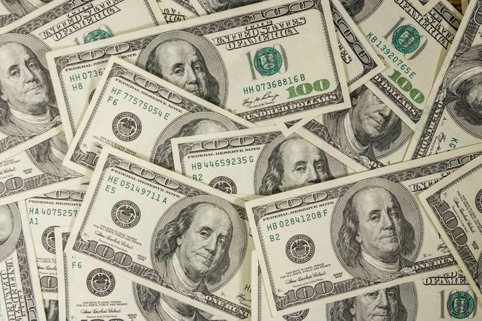 Pile of $100 bills.