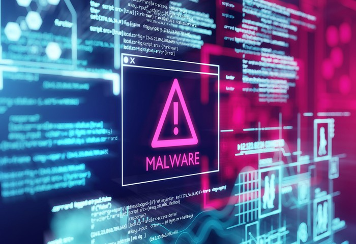 computer screen with malware alert on the screen