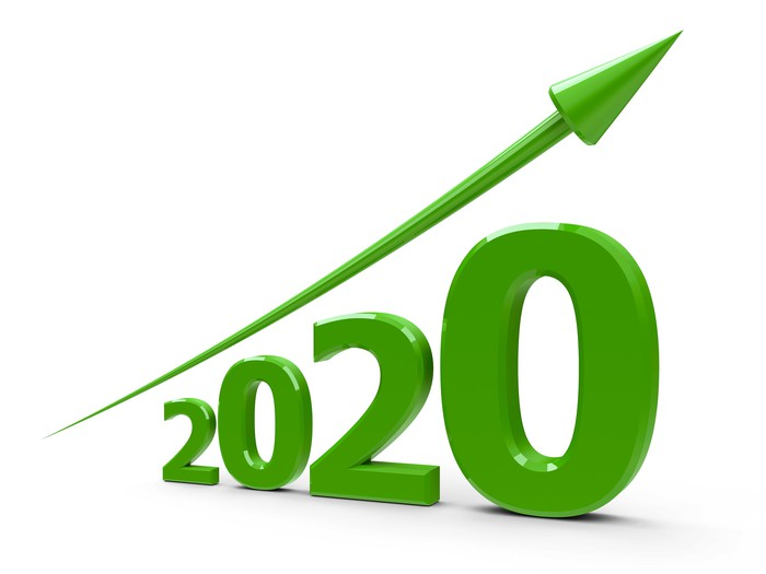 An upward-trending arrow over the numbers 2020 increasing in size