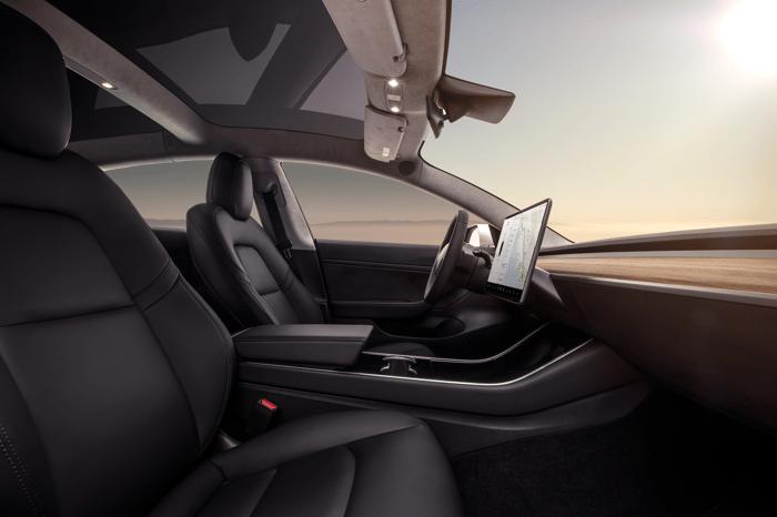 Interior of a Model 3 sedan