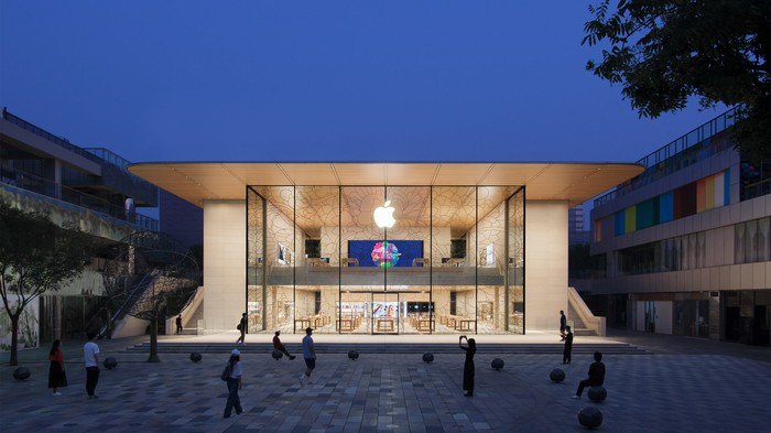 Exterior of an Apple Store in Beijing at dusk