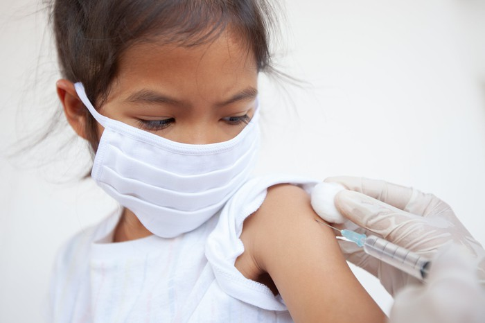 A masked child getting a jab from a medical professional.