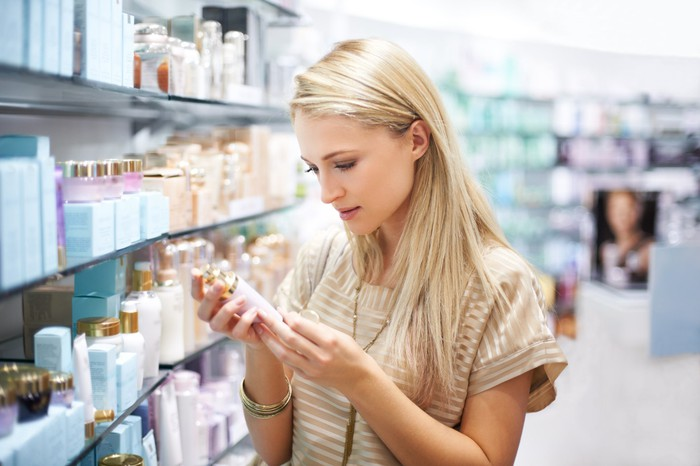 A woman shopping for personal care products