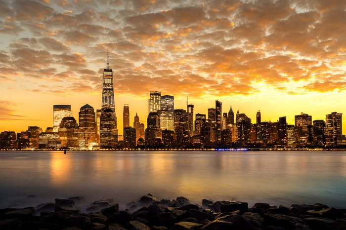 New York City skyline sunset.