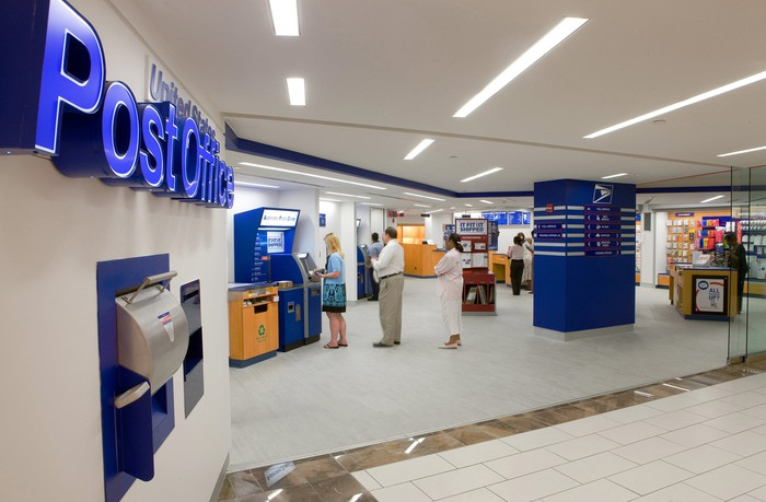 The lobby of a U.S. post office.