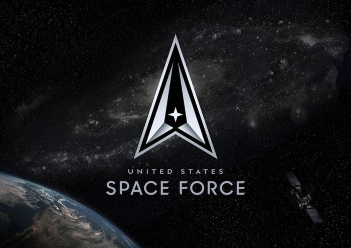 United States Space Force Logo with Earth, stars, and a satellite in the background