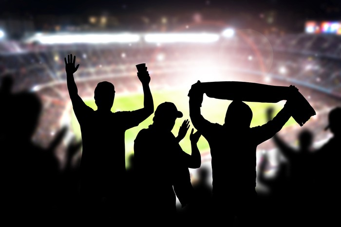 silhouette of fans at lit up football stadium