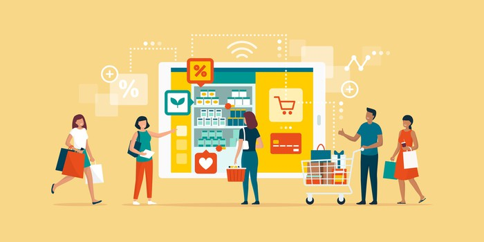 Digital art showing shoppers and retail symbols