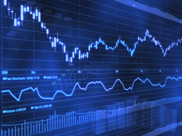 Deep blue stock chart with two uneven lines.
