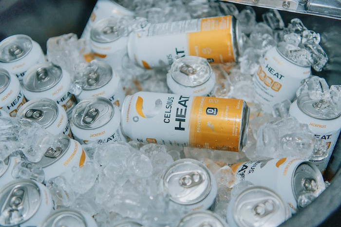 Cans of Celsius Heat in an ice chest