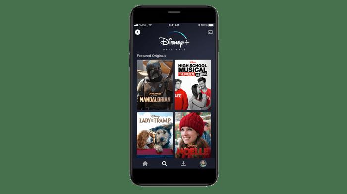 Disney+ app on mobile.