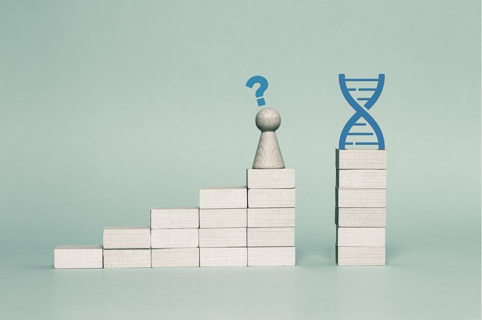 Ascending stacks of blocks with a gap between the last two stacks, a chess pawn with a question mark over it on top of the next-to-last stack, and a DNA image over the last stack.