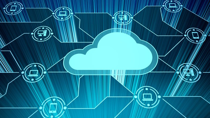 An illustration of a network of cloud-based computers.