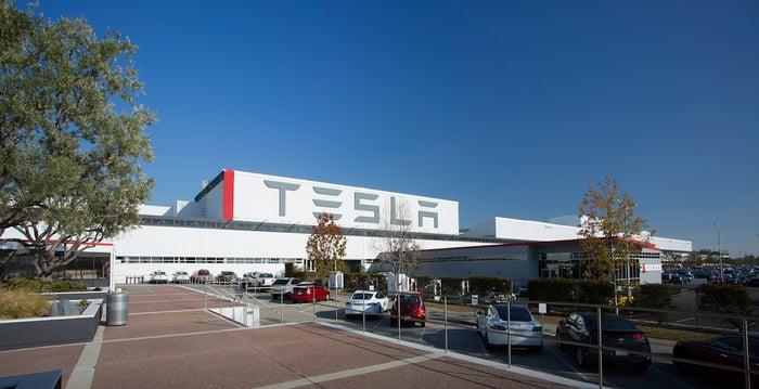 Exterior of a Tesla factory