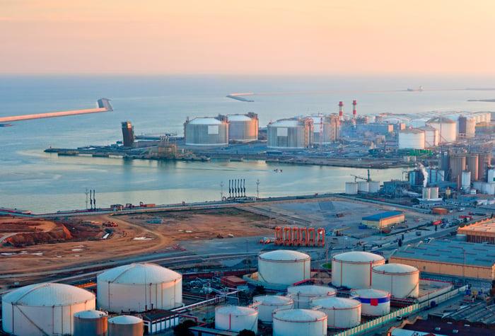LNG storage tanks near the coast at sunset
