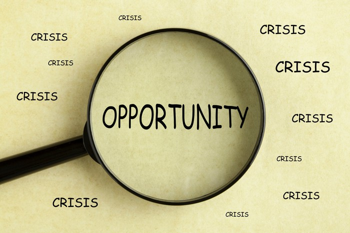 The word opportunity is in the center and under a magnifying glass surrounded by the word crisis.