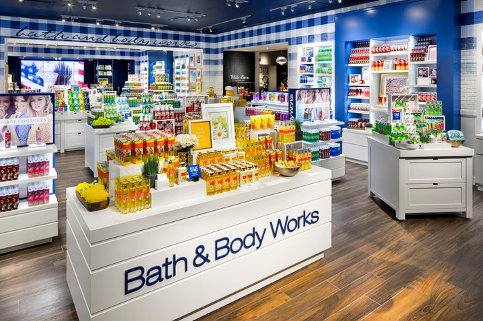 The interior of a Bath & Body Works store