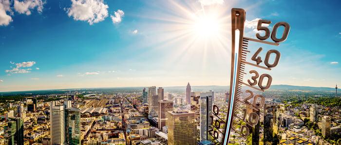 Urbanization is causing city temperatures to rise.