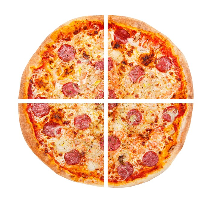 Pepperoni pizza pie cut into four equal sections.