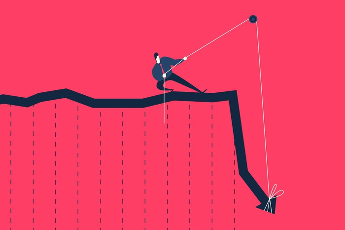 Cartoon man in suit and tie tugging on a pulley to lift up a falling stock chart arrow.