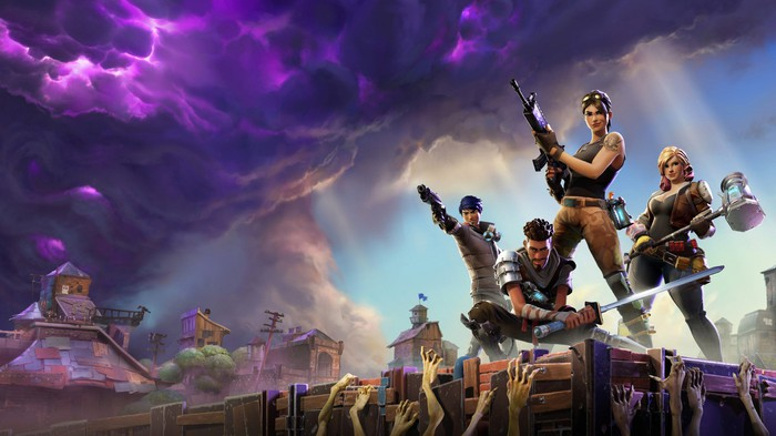 """Armed """"Fortnite"""" characters with purple clouds in the background"""