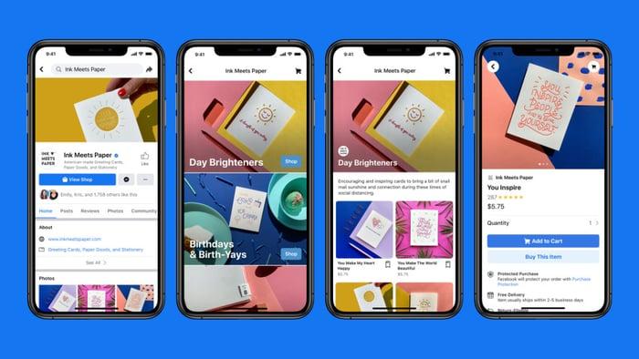 Screenshots of Facebook Shops on smartphones