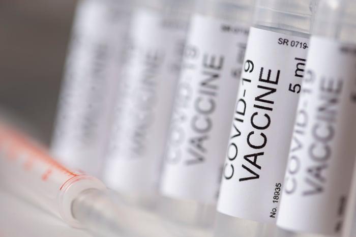 Vials of COVID-19 vaccine.