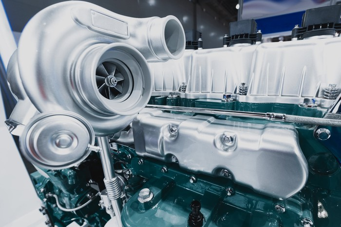 A close-up of a turbocharger
