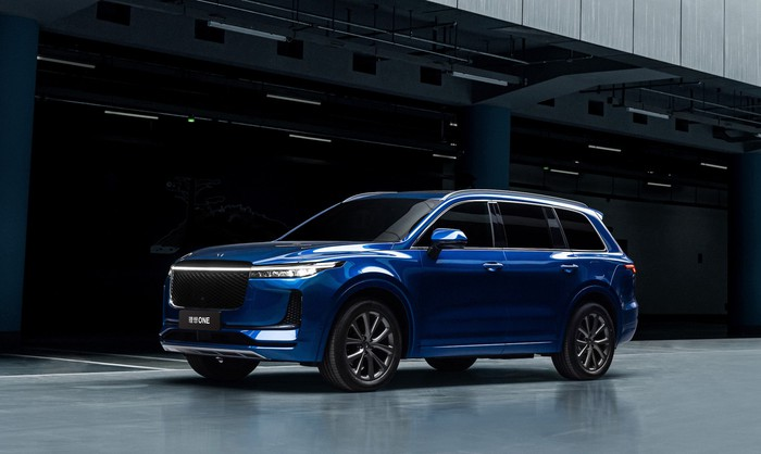 A blue Li One, an upscale electric crossover SUV.