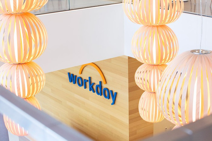 Workday logo on a wall in the lobby of headquarters