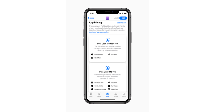 iPhone displaying app privacy interface