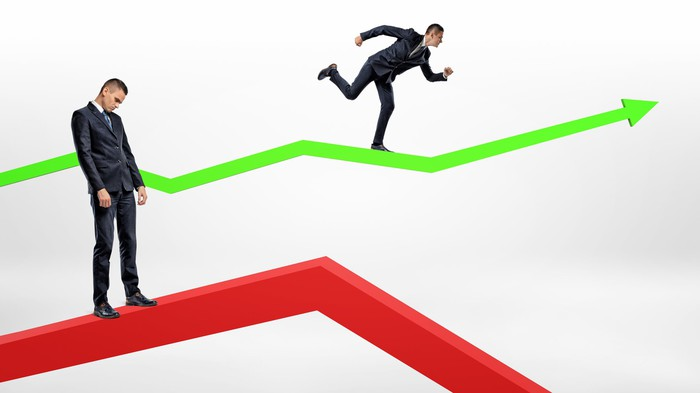 One businessman stands passive on a red arrow pointing downward and another running on a green arrow pointing upward.
