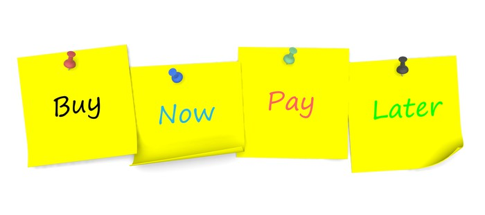 Buy Now Pay Later written on post-it notes