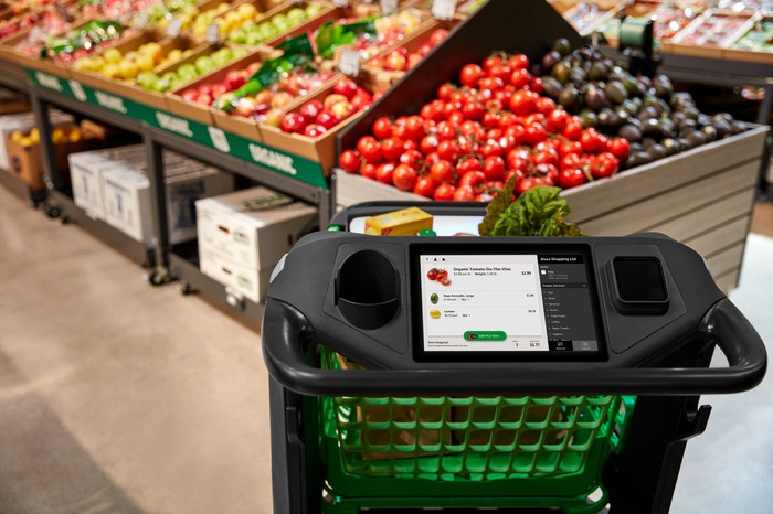 amazon dash cart in fruit and vegetable aisle