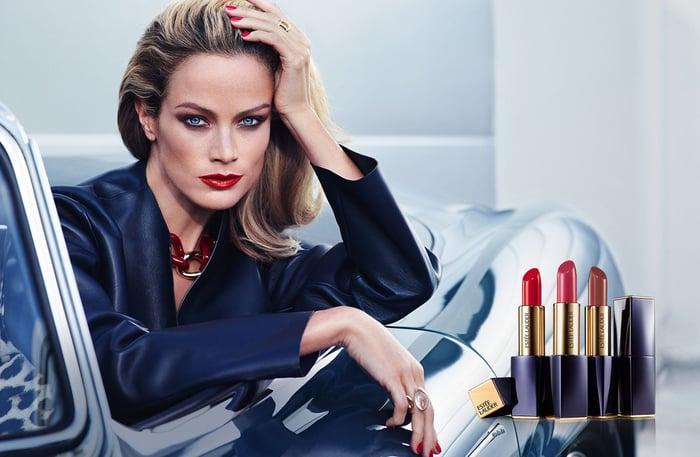 Model with Estee Lauder lipsticks