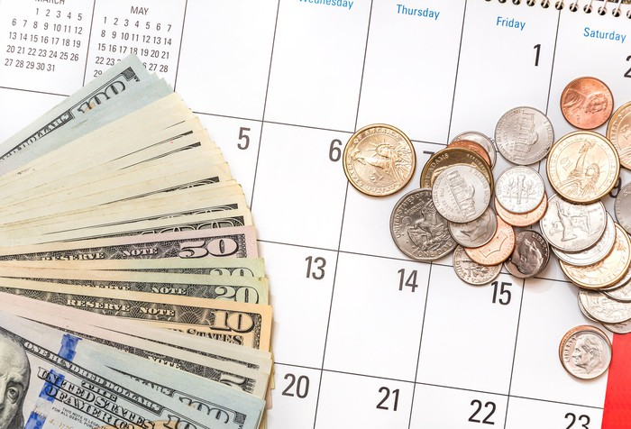 Money on a calendar.