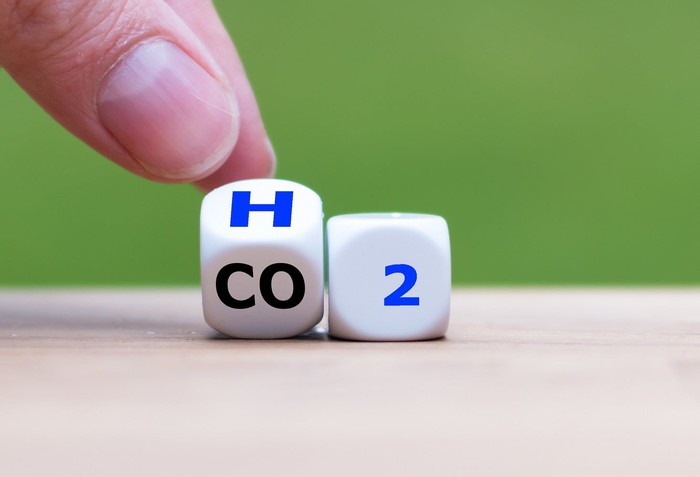 A finger moving dice printed with CO2 to read H2 instead.
