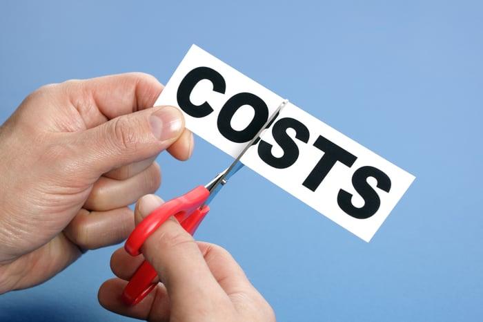 Scissors cutting paper that reads costs.