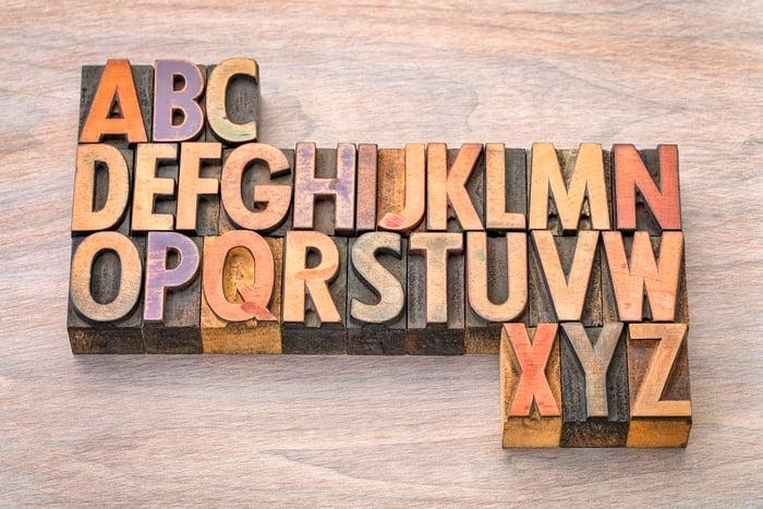 26 alphabet print blocks in alphabetical order.